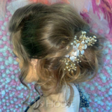 Ladies Unique Alloy/Imitation Pearls Combs & Barrettes With Venetian Pearl (Sold in single piece) (042165442)