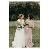 Off-the-Shoulder Floor-Length Chiffon Bridesmaid Dress With Split Front (266195922)
