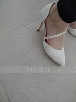 Women's Lace Fabric Stiletto Heel Closed Toe Pumps With Flower (047221719)