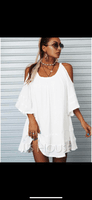 Solid Shift Cold Shoulder 1/2 Sleeves Midi Casual Little Black Tunic Dresses (294257585)