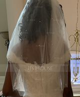 Two-tier Cut Edge Elbow Bridal Veils With Beading (006227455)