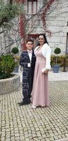 V-neck Floor-Length Chiffon Prom Dresses With Lace Split Front (272197849)