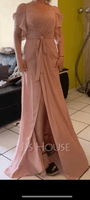 A-Line Off-the-Shoulder Floor-Length Bridesmaid Dress With Ruffle Split Front (266255986)