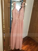 A-Line Sweetheart Floor-Length Chiffon Lace Bridesmaid Dress With Beading Split Front (266253358)