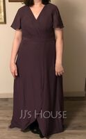 Asymmetrical Chiffon Bridesmaid Dress (266232879)