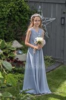 V-neck Floor-Length Chiffon Junior Bridesmaid Dress With Ruffle (268235728)