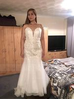 Trumpet/Mermaid Sweetheart Court Train Tulle Lace Wedding Dress (002234916)