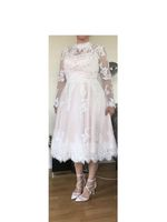 A-Line Illusion Knee-Length Lace Wedding Dress (002153435)