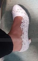 Women's Silk Like Satin Chunky Heel Pumps With Stitching Lace Flower Crystal Pearl (047128165)