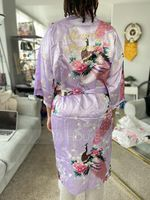 Silk Bridesmaid Floral Robes Glitter Print Robes (248176097)