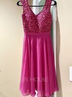 A-Line V-neck Knee-Length Chiffon Lace Bridesmaid Dress With Beading (007165871)