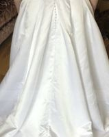Ball-Gown/Princess Scoop Neck Court Train Satin Wedding Dress With Beading Sequins Pockets (002186373)