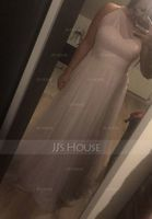 A-Line One-Shoulder Floor-Length Tulle Prom Dresses With Ruffle (018112664)