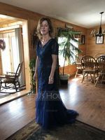 Trumpet/Mermaid V-neck Sweep Train Tulle Lace Mother of the Bride Dress (267204835)
