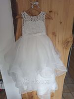 Ball-Gown/Princess Tea-length Flower Girl Dress - Tulle/Lace Sleeveless Scoop Neck (010206303)