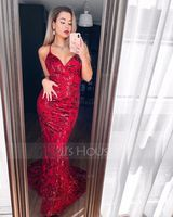 Trumpet/Mermaid V-neck Sweep Train Sequined Prom Dresses (272203549)