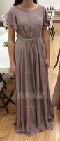 A-Line Scoop Neck Floor-Length Bridesmaid Dress With Ruffle (266256326)