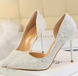 Women's Sparkling Glitter Stiletto Heel Closed Toe Pumps With Others (047142527)