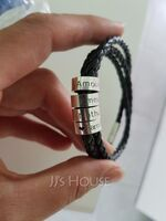 Men Braided Leather Bracelets With Custom Beads In Silver - Father's Day Gifts (106218405)