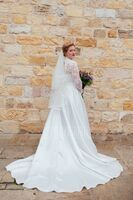 Ball-Gown/Princess V-neck Court Train Satin Wedding Dress With Bow(s) (002171947)
