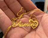 Custom 18k Gold Plated Heart Name Necklace With Heart - (288251810)