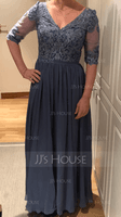 A-Line V-neck Ankle-Length Chiffon Lace Mother of the Bride Dress (008204930)