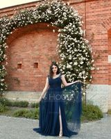 Scoop Neck Sweep Train Tulle Prom Dresses (272214587)