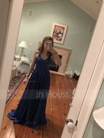 A-Line V-neck Sweep Train Satin Prom Dresses With Split Front (018186911)