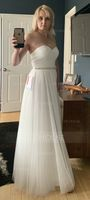 A-Line/Princess Sweetheart Floor-Length Tulle Wedding Dress With Ruffle Beading (002088474)