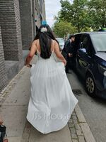 A-Line V-neck Floor-Length Chiffon Wedding Dress With Lace (002234893)