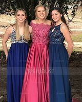 Ball-Gown/Princess Off-the-Shoulder Sweep Train Satin Prom Dresses With Bow(s) (018175925)