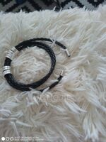 Men Braided Leather Bracelets With Custom Beads In Silver - Father's Day Gifts (106227799)