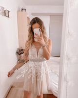 V-neck Short/Mini Tulle Wedding Dress With Lace Beading (265230802)