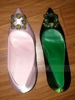 Women's Satin Stiletto Heel Pumps Closed Toe With Rhinestone shoes (085114804)