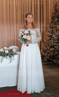 Off-the-Shoulder Floor-Length Chiffon Wedding Dress (265210912)
