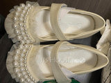 Girl's Round Toe Microfiber Leather Flat Heel Flower Girl Shoes With Beading Stitching Lace Velcro (207143446)