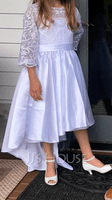 A-Line Asymmetrical Flower Girl Dress - Satin/Lace 1/2 Sleeves Scoop Neck (010254238)
