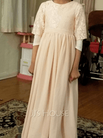 A-Line Scoop Neck Floor-Length Chiffon Junior Bridesmaid Dress With Cascading Ruffles (009217809)