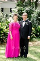 A-Line Off-the-Shoulder Floor-Length Chiffon Mother of the Bride Dress With Beading Appliques Lace Sequins (267262221)