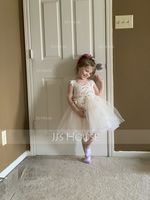 Knee-length Flower Girl Dress - Tulle Lace Sleeveless V-neck Straps With Rhinestone (269250554)