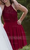 Scoop Neck Knee-Length Chiffon Lace Bridesmaid Dress (266195859)
