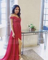 Off-the-Shoulder Sweep Train Chiffon Prom Dresses With Lace Sequins (272198691)