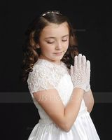 Floor-length Flower Girl Dress - Satin Tulle Lace Short Sleeves Scoop Neck With Beading (Petticoat NOT included) (269193752)