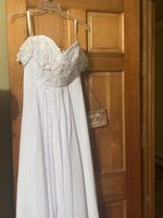 Off-the-Shoulder Sweep Train Chiffon Wedding Dress With Lace Beading Flower(s) (265193268)