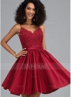 A-Line V-neck Short/Mini Satin Homecoming Dress With Beading Sequins (300244423)