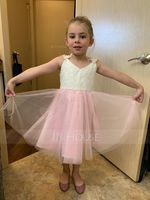 Knee-length Flower Girl Dress - Chiffon Satin Lace Sleeveless V-neck (269251162)