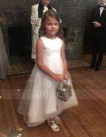 A-Line/Princess Asymmetrical Flower Girl Dress - Satin/Tulle Sleeveless Scoop Neck With V Back (010153214)