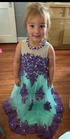 Ball-Gown/Princess Floor-length Flower Girl Dress - Tulle Sleeveless Scoop Neck With Beading (Petticoat NOT included) (010094136)