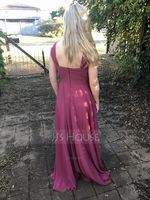 A-Line Off-the-Shoulder Floor-Length Chiffon Bridesmaid Dress With Ruffle (007176752)