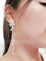 Ladies' Shining Copper/Zircon Earrings (011229710)